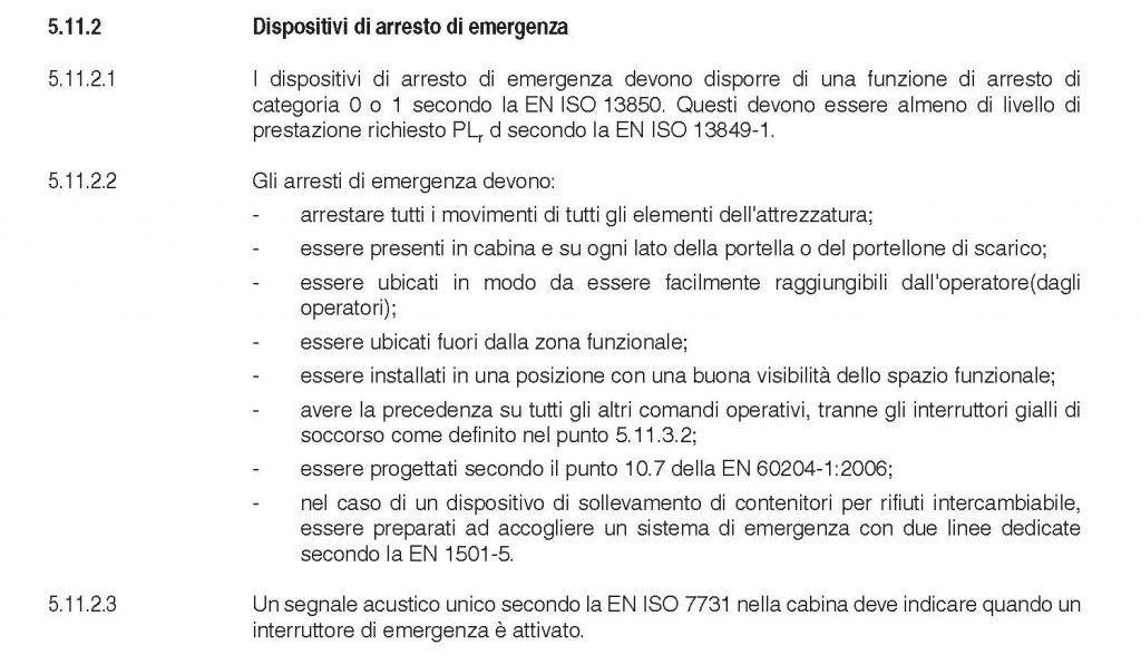 Dispositivi di arresto di emergenza